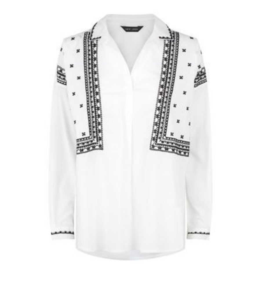 White Folk Embroidered Overhead Shirt New Look