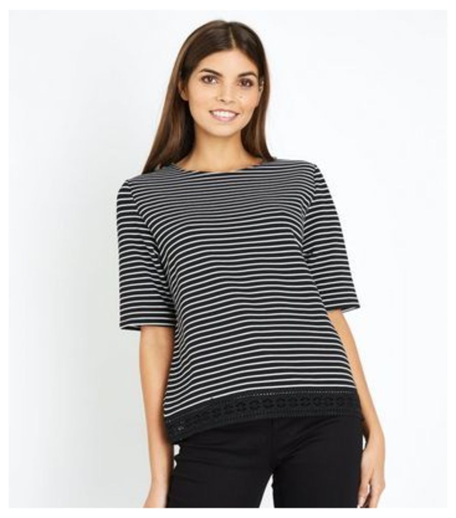 Black Stripe Lace Hem T-Shirt New Look