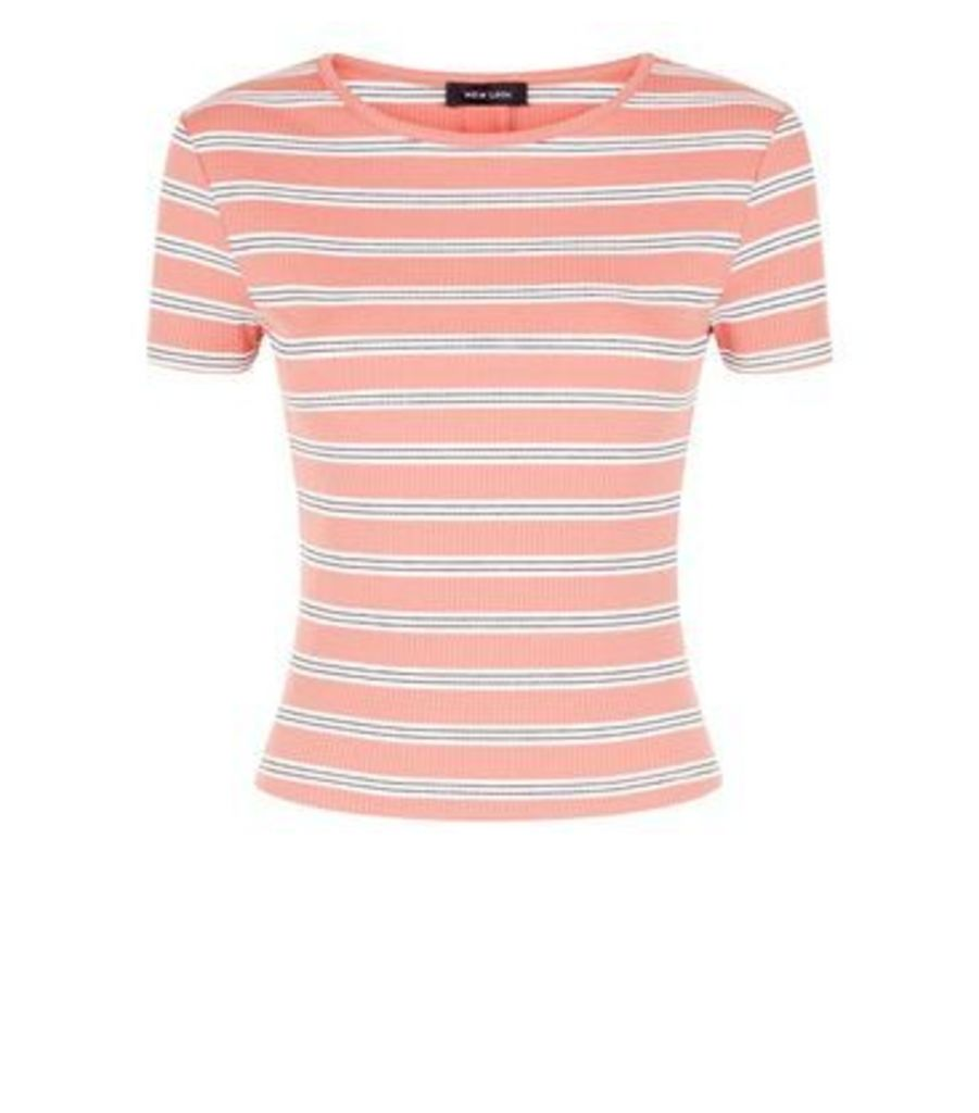 Rust Stripe Ribbed T-Shirt New Look