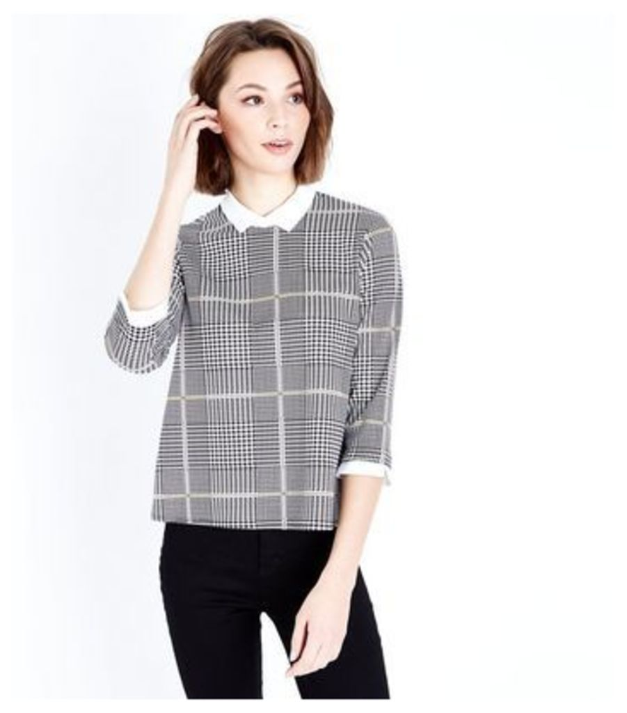 Grey Check Contrast Collar Top New Look