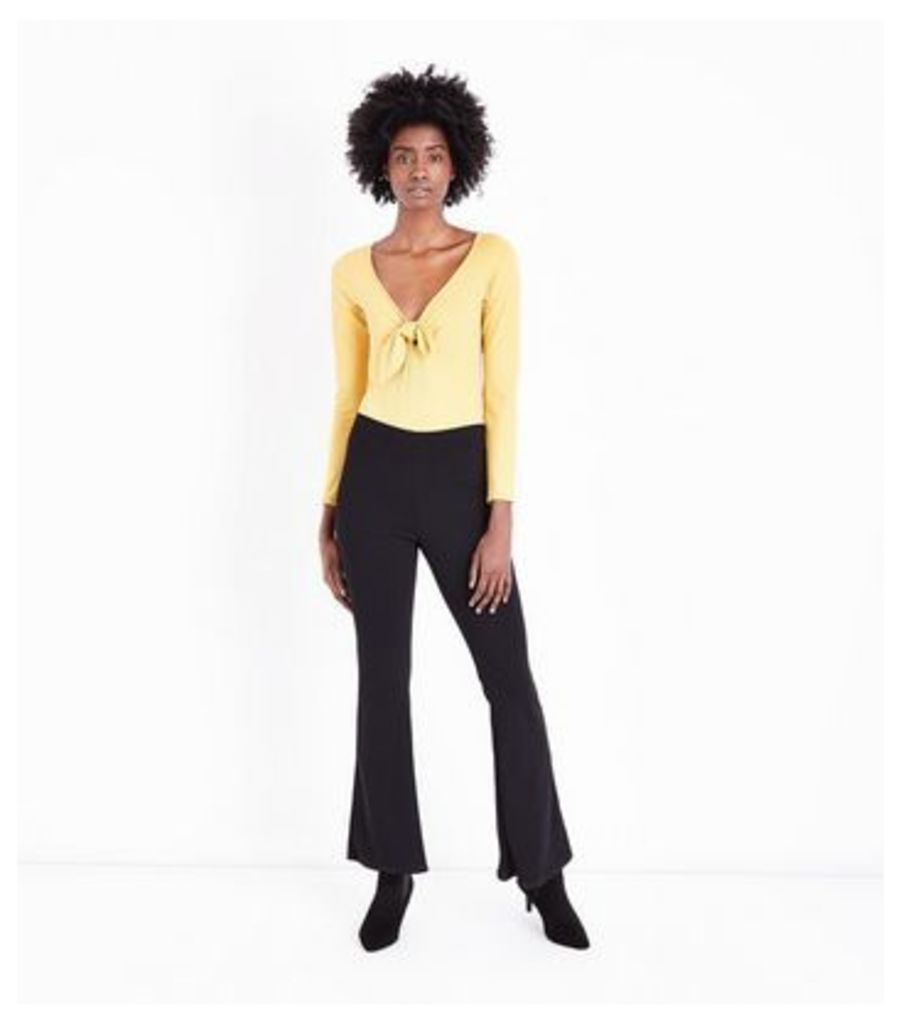 Mustard Yellow Ribbed Tie Front Bodysuit New Look