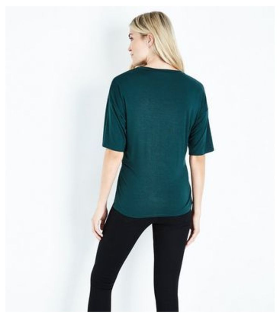 Dark Green Tie Front T-Shirt New Look