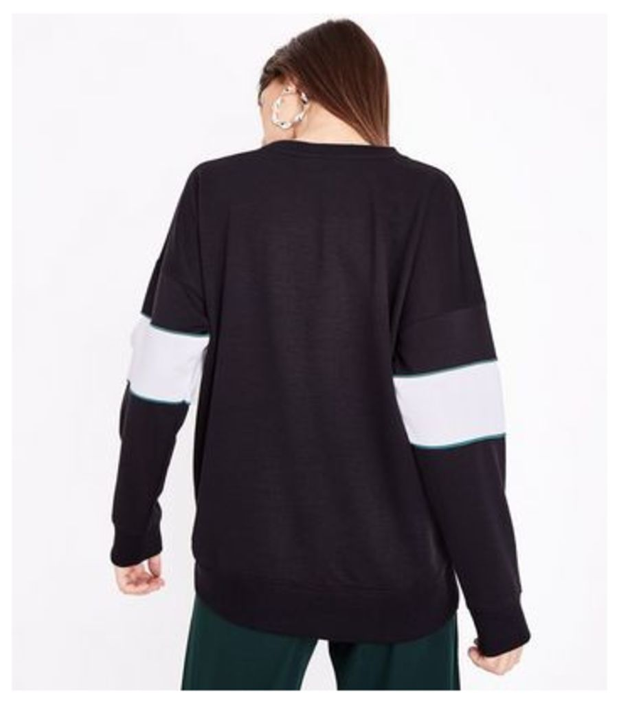 Black Colour Block Merci Slogan Sweatshirt New Look