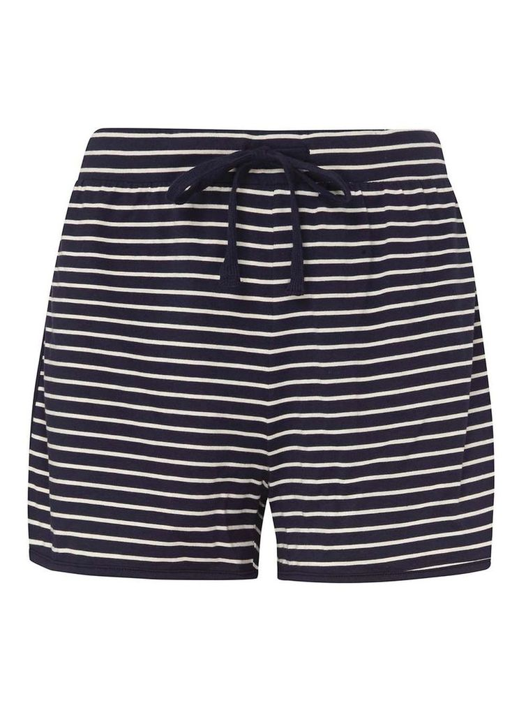 Womens **Tall Navy Stripe Shorts- Blue