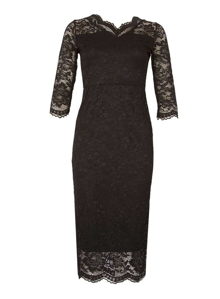 Womens *Feverfish Black Lace Scallop Bodycon Dress- Black