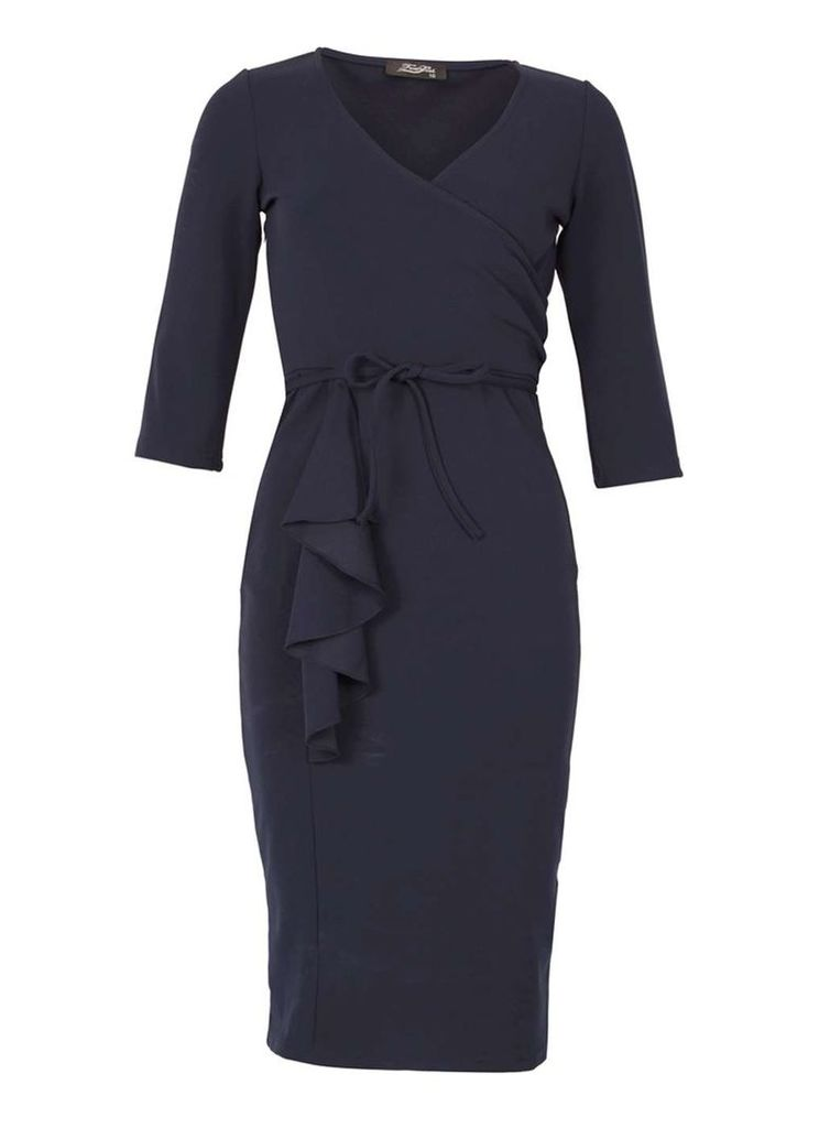 Womens *Feverfish Navy Frill Wrap Dress- Navy