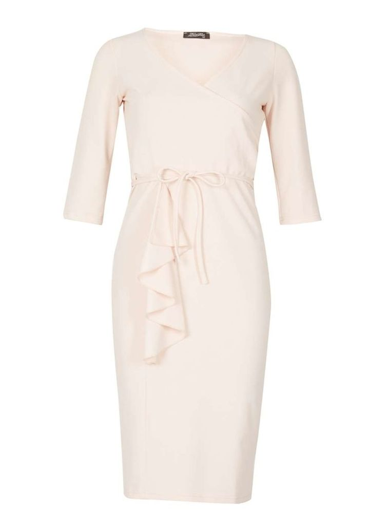 Womens *Feverfish Pink Frill Wrap Dress- Pink