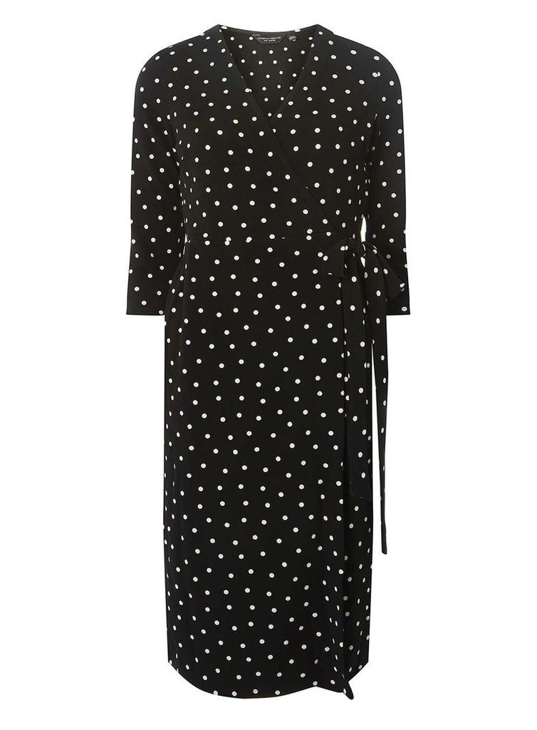 Womens Black and Ivory Spotted Wrap Dress- Black