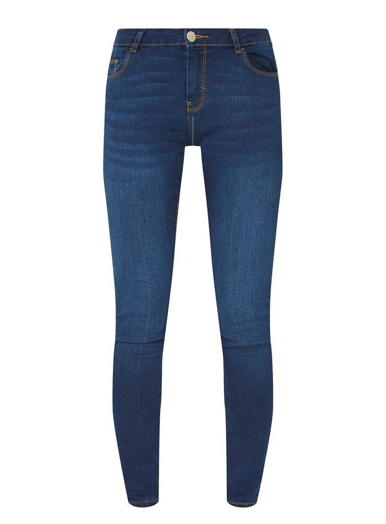 Womens Washed Indigo 'Ashley' Skinny Jeans- Blue