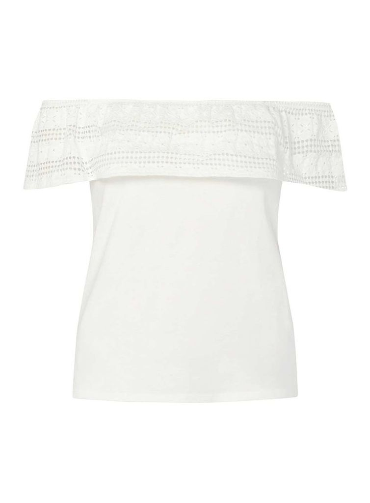 Womens Ivory Lace Ruffle Bardot Top- White