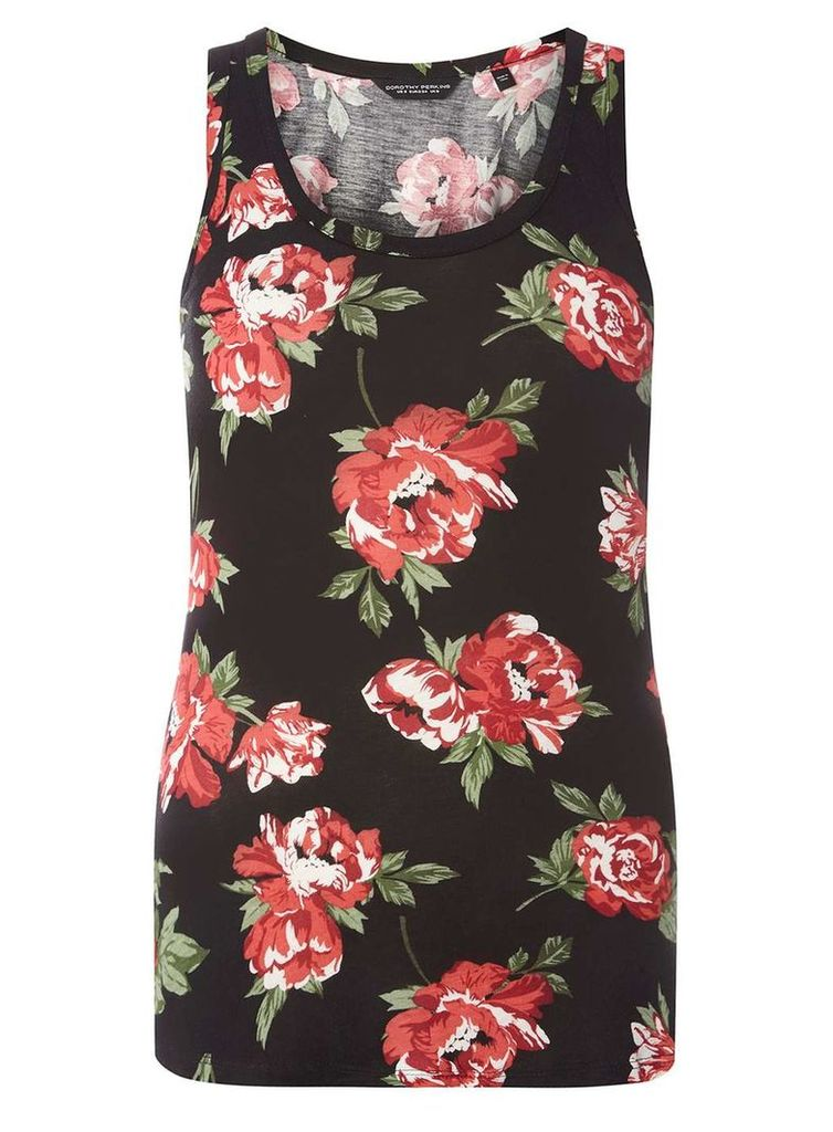Womens Black And Red Rose Print Vest- Multi