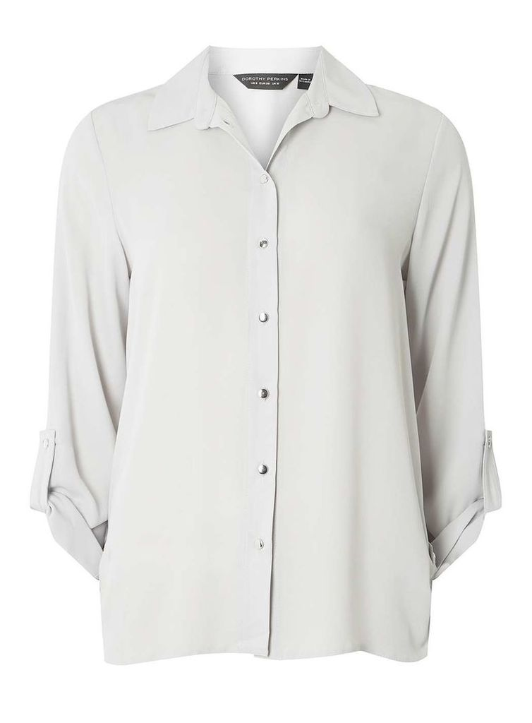 Womens Silver Tab Roll Sleeve Shirt- Silver