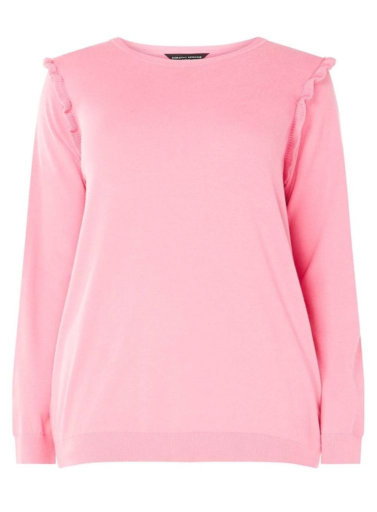 Womens DP Curve Plus Size Pink Frill Shoulder Jumper- Pink