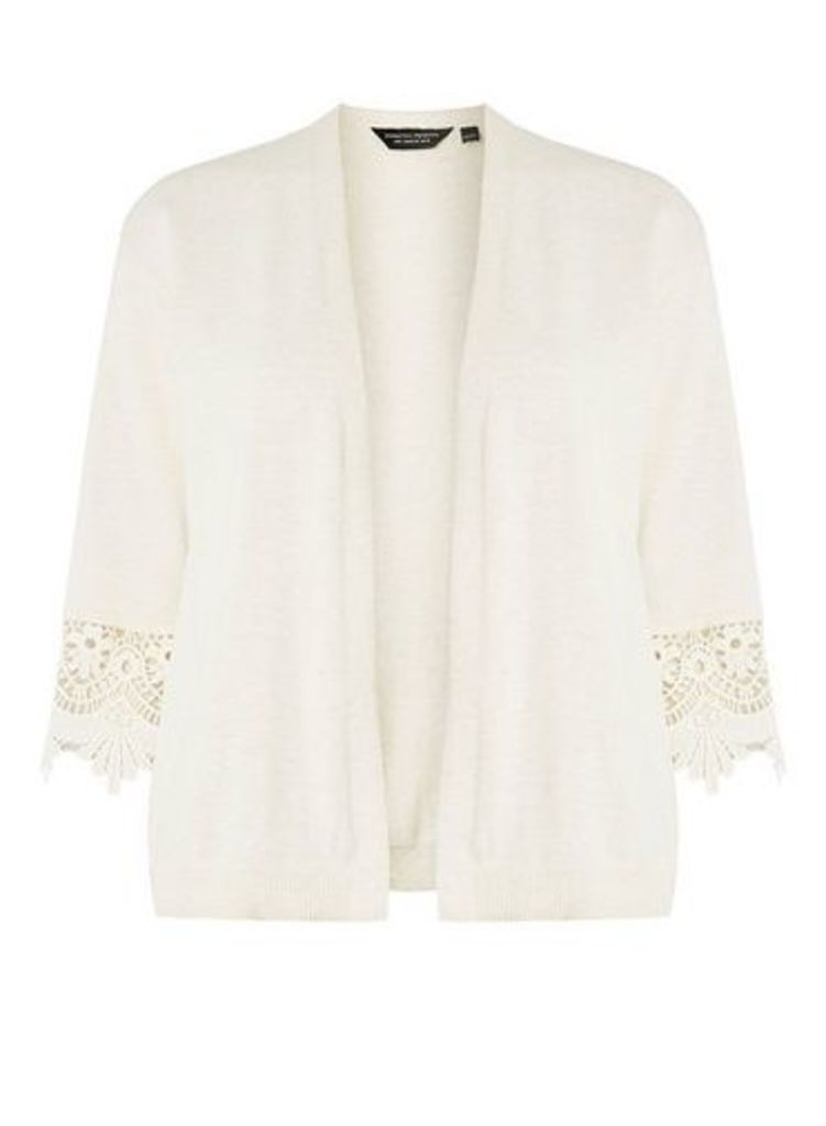 Womens Oatmeal Lace Sleeve Cardigan- Beige