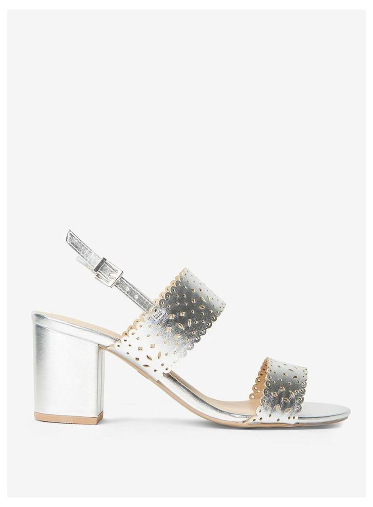 Womens Silver 'Sugar' Lazercut Sandals- Silver