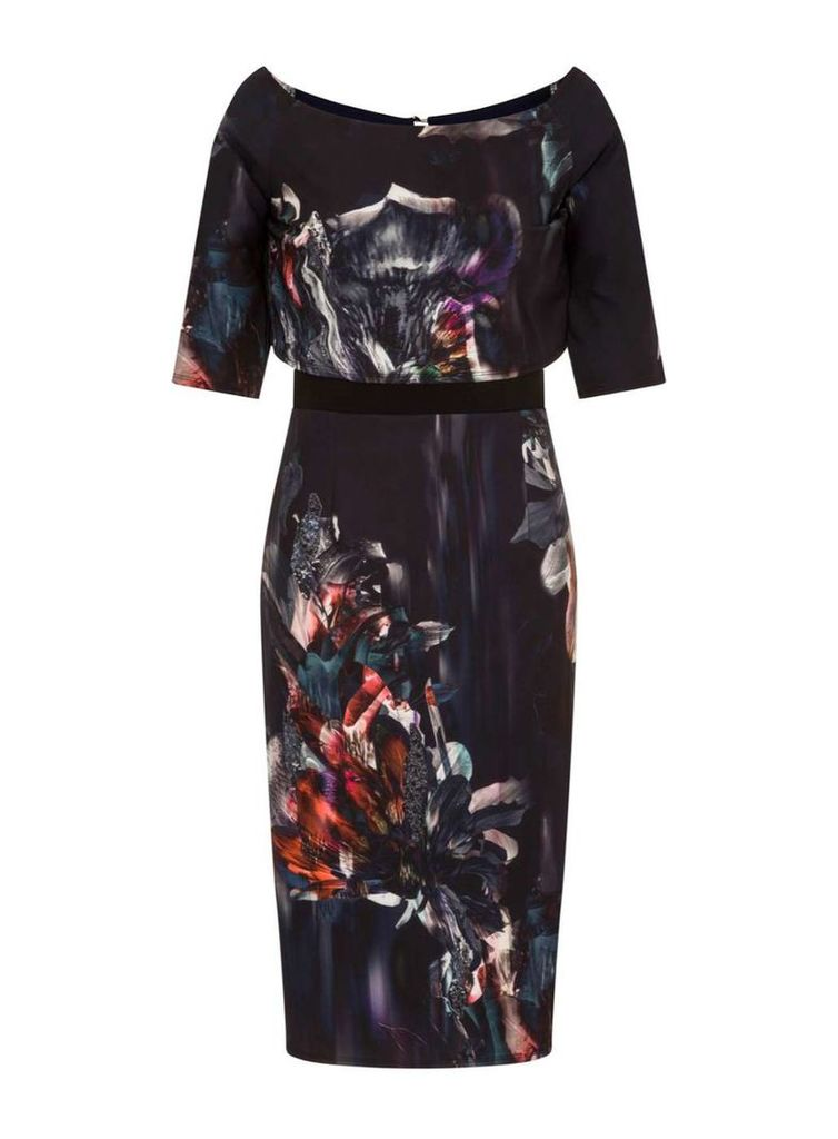 Womens **Little Mistress Navy Floral Off Shoulder Pencil Dress- Navy
