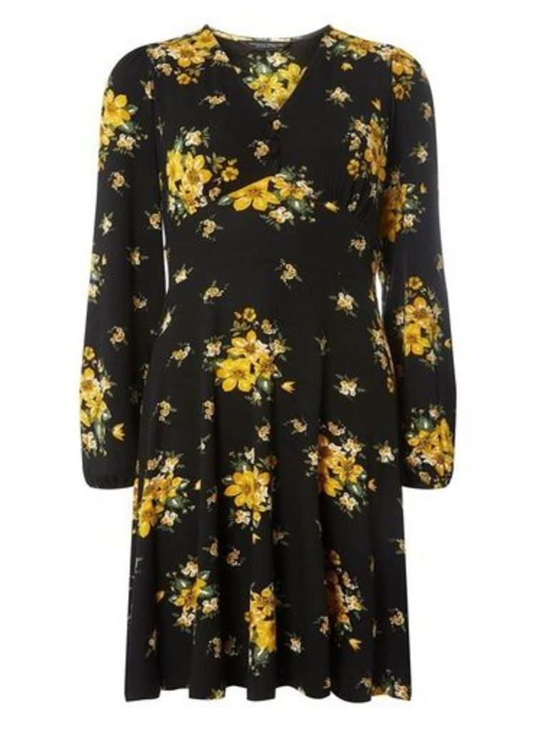 Womens Black and Yellow Floral Print Fit and Flare Dress- Black