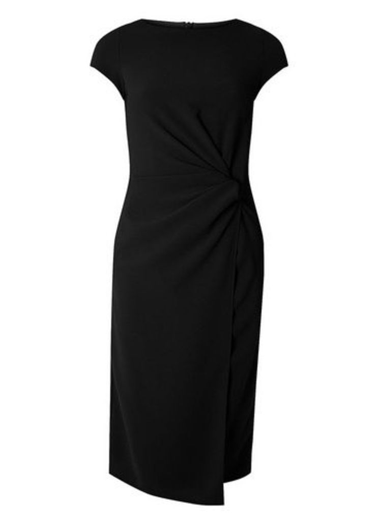 Womens **Lily & Franc Black Manipulated Midi Dress- Black