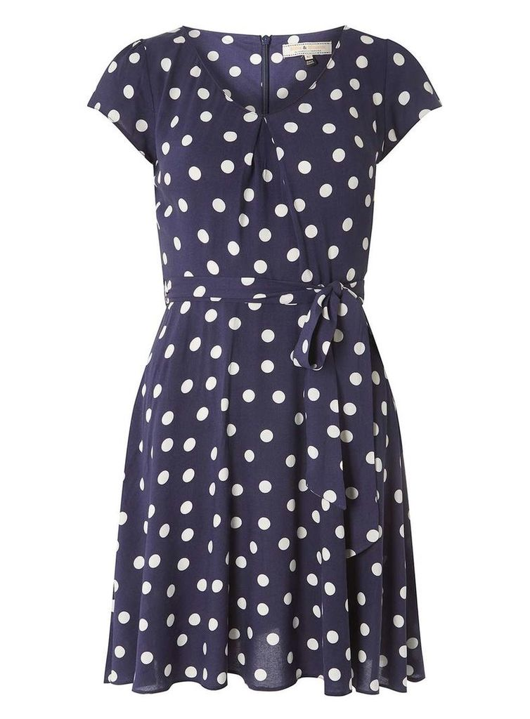 Womens **Billie & Blossom Navy Spot Viscose Dress- Navy