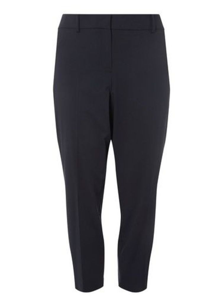 Womens DP Curve Plus Size Navy Ankle Grazer Trousers- Blue