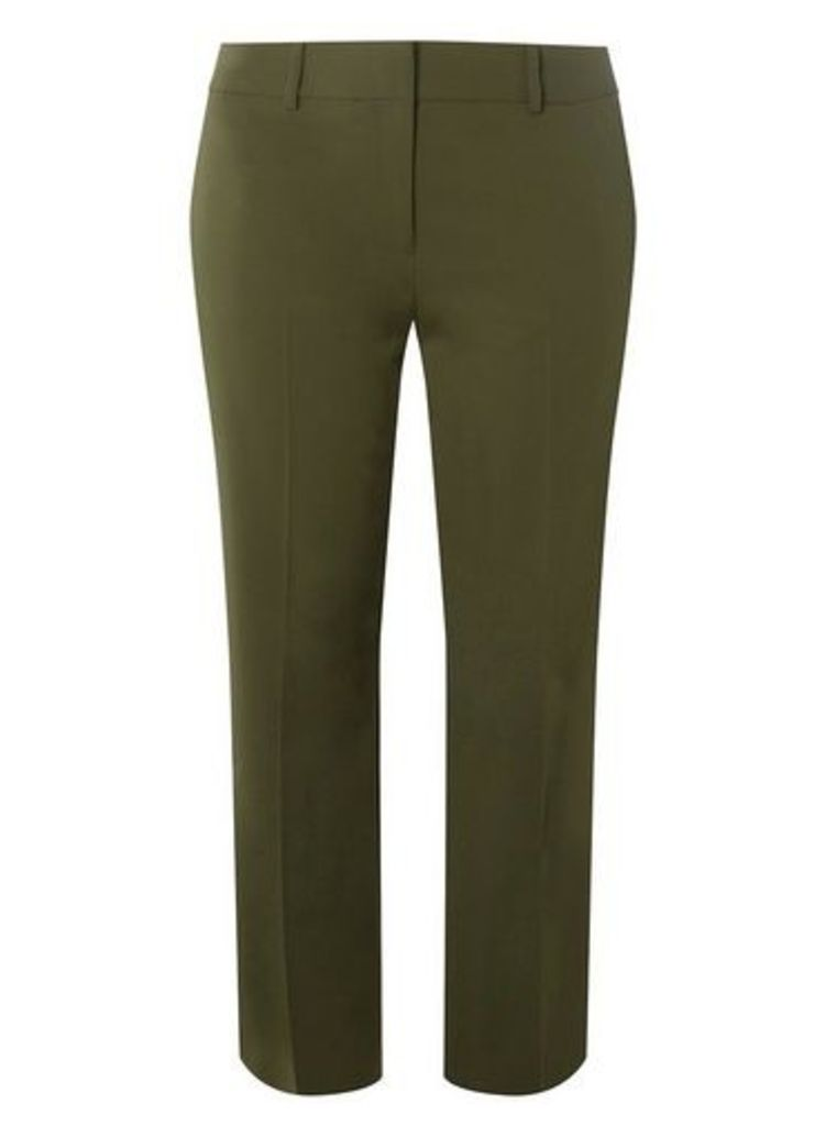 Womens DP Curve Plus Size Khaki Ankle Grazer Trousers- Khaki