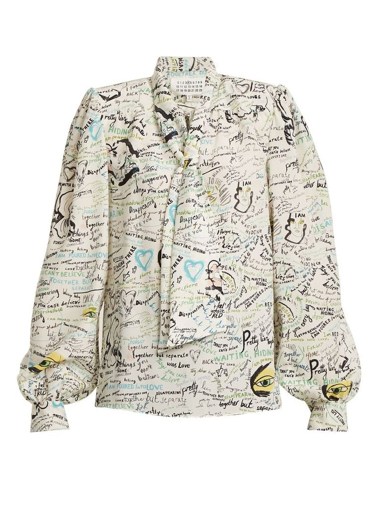 Scribble-print tie-neck silk blouse
