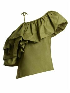 Marques'almeida - One Shoulder Taffeta Top - Womens - Khaki