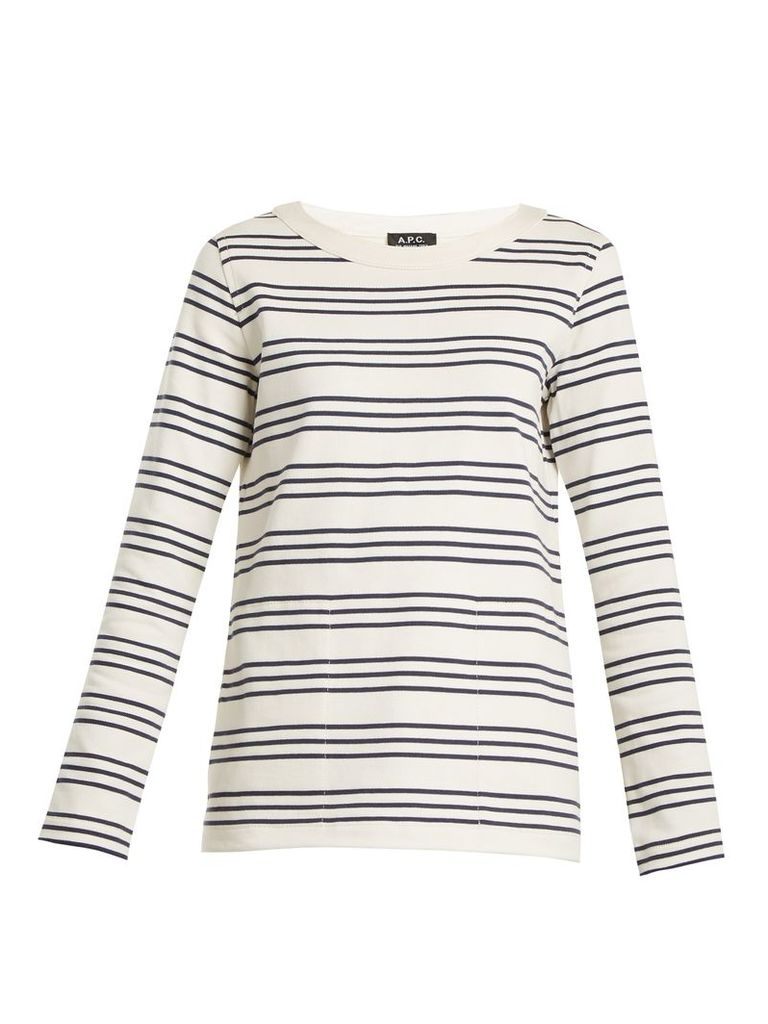 Fog striped crew-neck cotton top