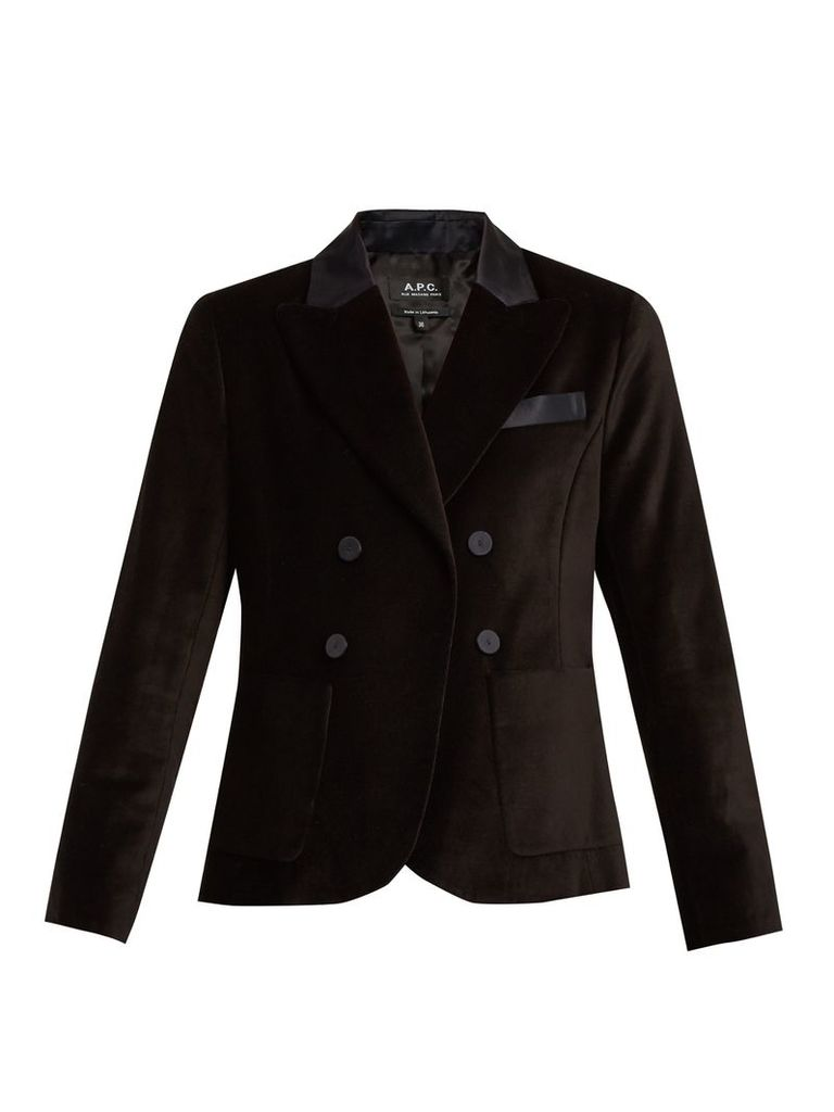 Double-breasted cotton-velvet blazer