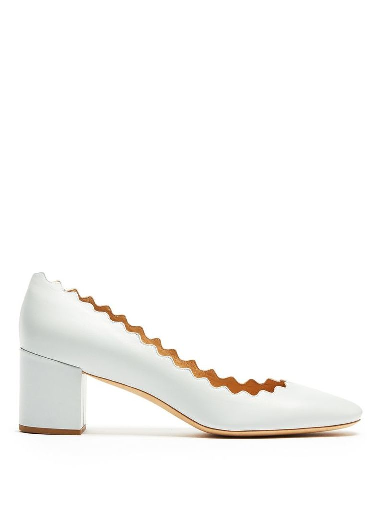 Lauren scallop-edged leather pumps