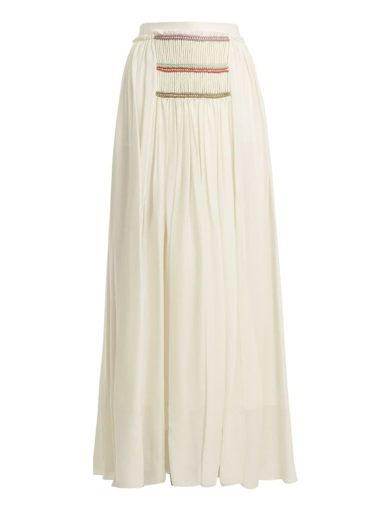 Pleated silk-georgette skirt