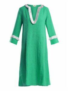 Daft - Capri Fringed Linen Dress - Womens - Green