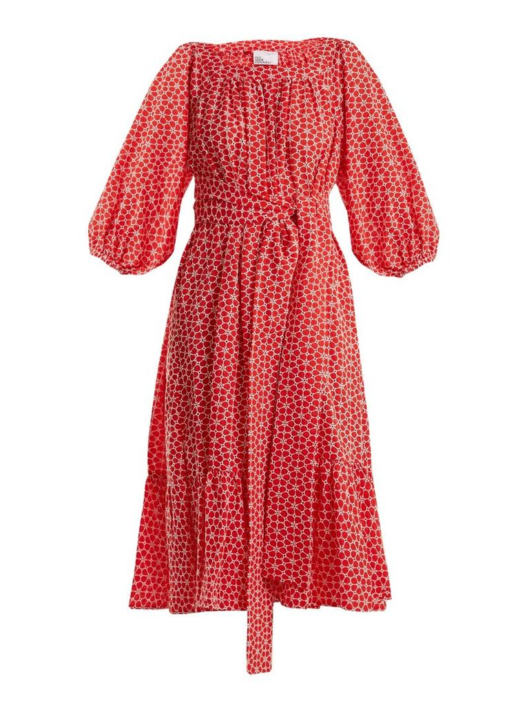 Floral-embroidered balloon-sleeve cotton dress