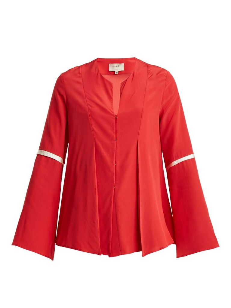 Diana pleated crepe de Chine blouse