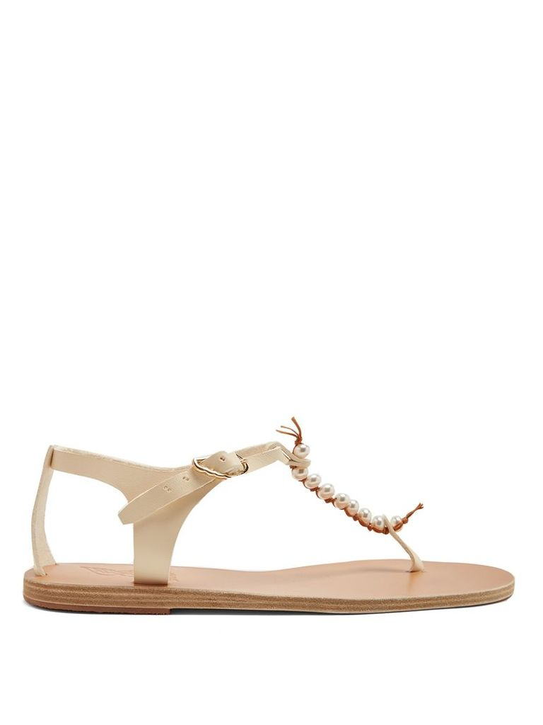 Chrysso faux-pearl embellished leather sandals