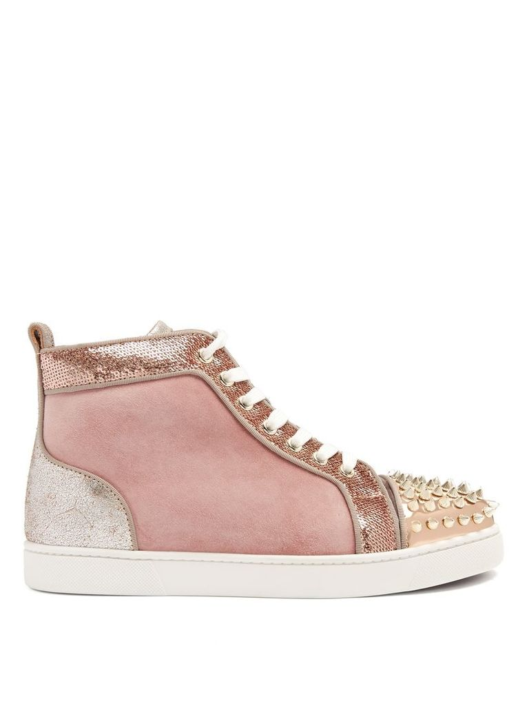 Lou stud-embellished suede high-top trainers