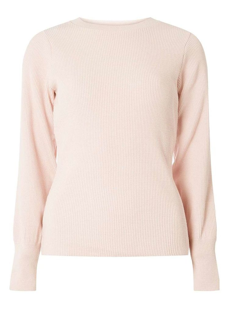 Womens Blush Volume Sleeve Jumper- Pink