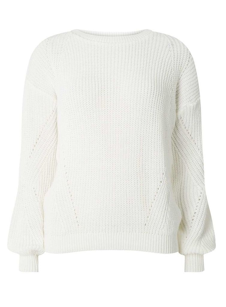 Womens Ivory Stitch Detail Jumper- White