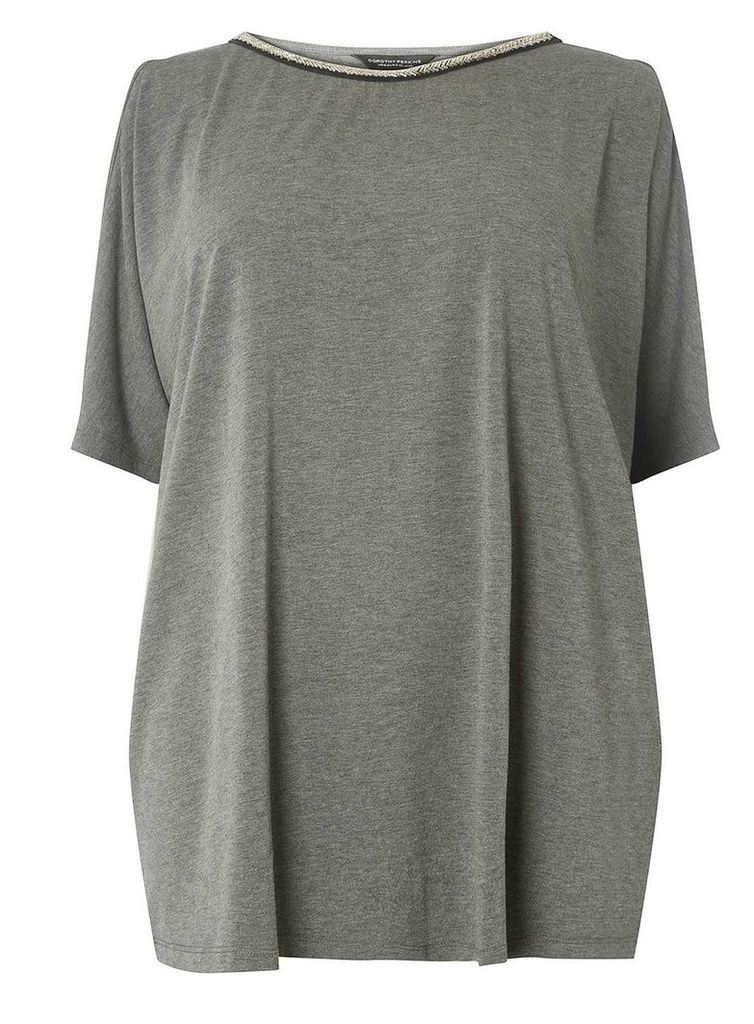 Womens DP Curve Plus Size Charcoal Embellished Neck Batwing Top- Grey
