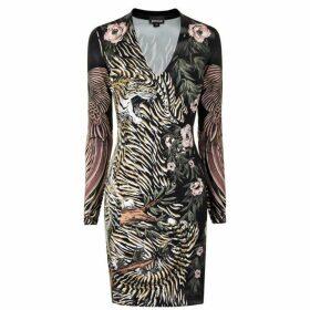 Just Cavalli Long Sleeve Tiger Dress