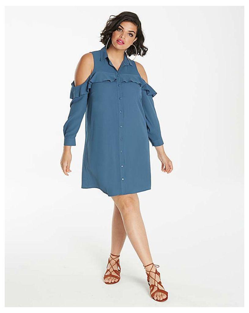 Frill Front Shirt Dress