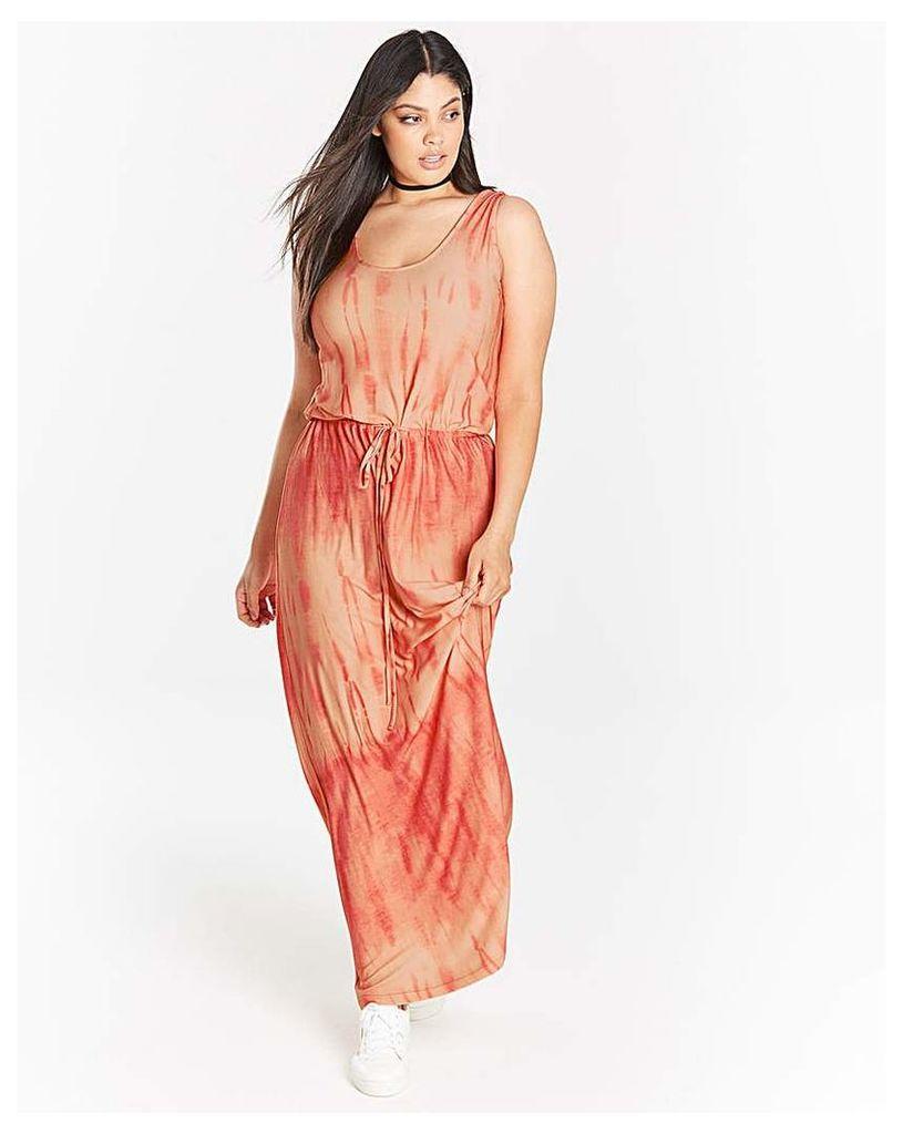 Coral/ White Tie Dye Maxi Dress
