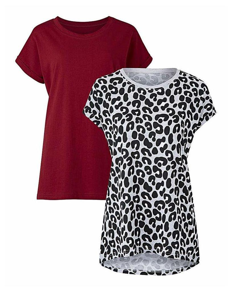 Wine/Print Pack Of 2 Boyfriend T-Shirts
