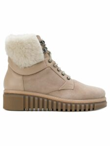 Loriblu leather and fur trim ankle boots - Neutrals