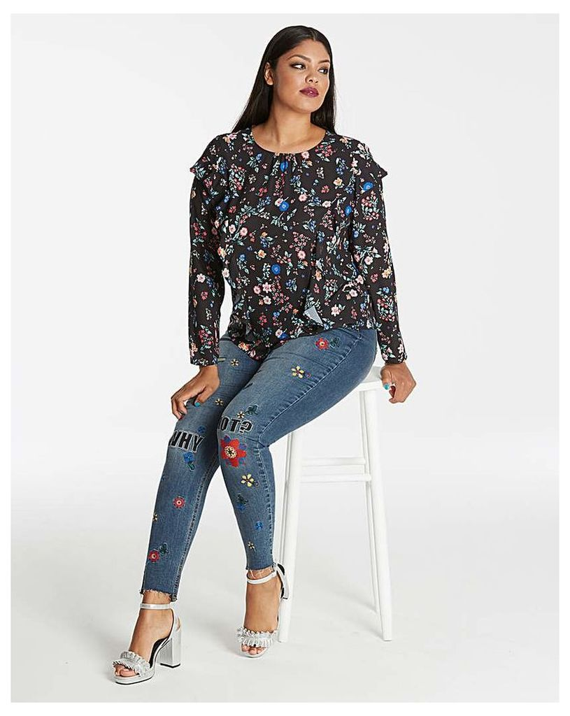 Black Floral Ruffle Front Top