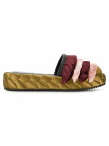 Marco De Vincenzo quilted fringed mules - Green