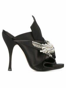 Nº21 embellished satin mules - Black