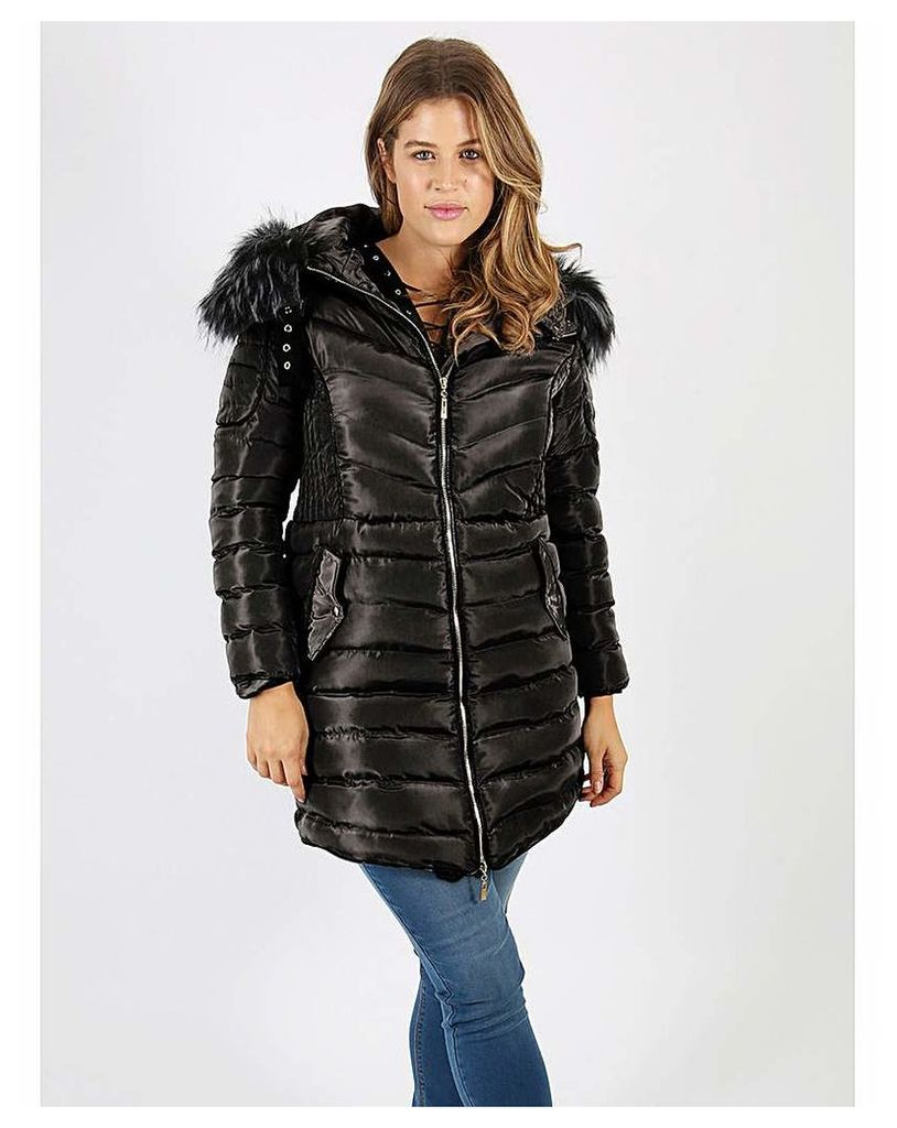 Lovedrobe black longline quilted jacket