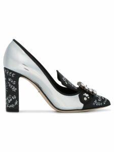 Dolce & Gabbana Silver Leather Bellucci 95 pumps - Black