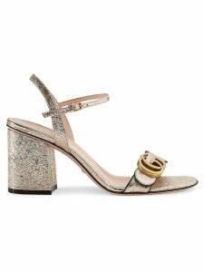 Gucci Metallic laminate leather mid-heel sandal